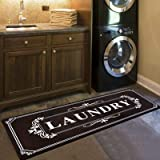 Farmhouse Rubber Laundry Rug Nonskid Cusioned Kitchen Floor Mat 20x48 Inch Mocha Laundry Room for Wash Room/Mudroom