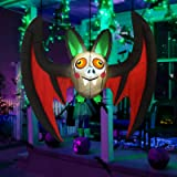 GOOSH 5Foot Length Halloween Inflatable Hanging Bat with Big Wings and Ears with Build-in Bright White LED Lights Blow Up Par