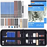Drawing Pencils Set,52 Pack Professional Sketch Pencil Set in Zipper Carry Case,Drawing Kit Art Supplies with Graphite Charco