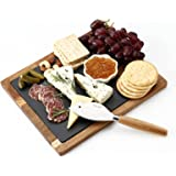 hecef Acacia Wood Cheese Board Set with Black Slate & Cheese knife, Wooden Charcuterie Platter & Serving Tray for Cheese, Cra