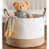 "chloé+kai Woven Storage Basket,D20""xH13"" XXX-Large Cotton Rope Basket,Laundry and Blanket Basket,Decorative Basket for Toy,Nu"