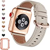 OMIU Leather Bands Compatible for Apple Watch 38mm 40mm 42mm 44mm, Genuine Leather Replacement Band Compatible with Apple Wat