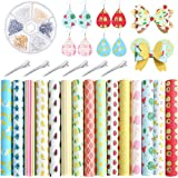 Caydo 15PCS Fruit Food Printed Faux Leather Sheet with Earring Hooks, Hair Clips for Leather Earring and Hair Bows Making (8.