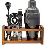 Bartender Kit Black 11 Piece - Parisian Cocktail Mixology Set - Bar Shaker with Muddler, Pourers, Strainer & Twisted Bar Spoo
