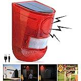 Solar Sound & Light Alarm Motion Sensor 110 Decibels Siren Sound Alert & 6LEDs Flash Warning Strobe Security Alarm System for