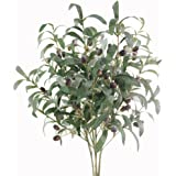 """Htmeing 28"""" Artificial Olive Branches Fake Holly Plants Green Leaves Fruits for Home Office Decoration(4pcs)"""