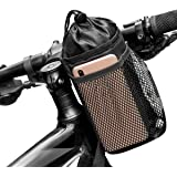 Caudblor 自転車用ボトルケージ ハンドルバーバッグ 携帯収納付きメッシュポケット付き 自由調節可能 ウォーカー/クルーザー/エクササイズ/マウンテンバイク用のハンドルバードリンク/飲料容器に適用