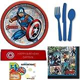 Captain America Birthday Party Supplies Bundle Including Plates, Napkins, Utensils, and Bonus Printed Ribbon