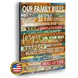 Marla Rae 12-Inch-by-18-Inch Country Wood Our Family Rules Wall Art Sign Decor Brown