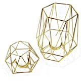Geometric Gold Tealight Holder for Table Decor Large and Small Metal Hexagon Votive Candle Centrepiece for Shelf Decor Set of