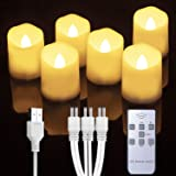 Homemory Rechargeable Flameless Votive Candles with Remote, Battery Tea Lights with Timer, 6 PCS Electric Fake Candle in Warm