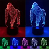 YANGHX 3D Illusion Orang Gorilla Chimpanzee Halloween Optical Illusion LED USB Table Night Light Remote Desk Lamp Lighting fo