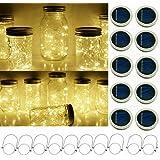 Upgraded Solar Mason Jar String Light Lids, 10 Pack 20 LED Fairy Firefly String Light Inserts with 10 Hangers Starry Lighting