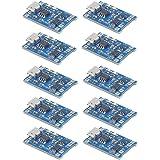 10個 TP4056充電モジュール充電器 5V Micro USB 1A保護充電モジュール付き18650リチウムバッテリ充電ボード (TP4056充電保護モジュール)