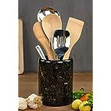 Utensil Holder Spoon Caddy Countertop Handmade Marble Kitchen Utensils Set Organizer - 4.5x4.5x6.5 Inch Flatware Chopstick Ca