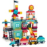 burgkidz Building Blocks for Kids Ages 4-8, 301 Piece Windmill Town Large Building Blocks, Building Brick Set with Train for