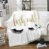 Eyelash Blanket Black White Throw Blanket Cute Kids Girls Blanket Sherpa Fleece Blanket Soft Cozy Warm Plush Blanket for Bed