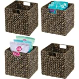 mDesign Woven Hyacinth Farmhouse Kitchen Storage Organizer Basket Bin with Handles for Kitchen Cabinets, Pantry, Bathroom, La