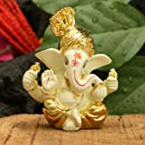 CraftVatika Gold Plated Terracotta Pagdi Ganesha Statue for Car Dashboard God Ganpati Puja Gifts Idols Home Decor (Size 8 x 6