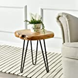 "WELLAND Natural Edge Side Table, Live Edge Stool Hairpin Legs, Wood Nightstand, Bedside Table, 15.5"" Tall"