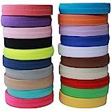 Masokan Solid Color Sewing Fold Over Elastic Stretch FOE & Foldover FOE Trim Elastic Ribbon by The Yard for Hair Ties Headban