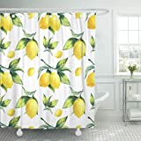 TOMPOP Shower Curtain Watercolor Fruit Lemon Pattern on White Colorful Tree Botanical Waterproof Polyester Fabric 72 x 72 inc