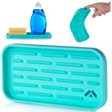 Nivafeel Kitchen Sink Organizer Tray - Silicone Holder for Sponge, Scrubber, Soap - Anti-Slip and Heat Resistant for Cleaning