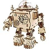 ROKR コースター 水車 コグ 歯車 立体パズル 機械模型マニア ギア 手回し 木製 クラフト プレゼント (ロボット)