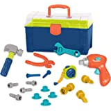 Battat BT2506Z Busy Builder Tool Box Durable Kids Tool Set Pretend Play Construction Tool Kit for Kids 3 years+ (20-Pcs), Mul