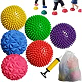 SeeuFun 6 Pack Hedgehog Balance Pods, Soft Spiky Massage Balance Ball with 1 Piece Hand Pump and 1 Piece Non-Woven Drawstring