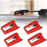 4個 LP レコード針 交換針 レコードプレーヤー針ターンテーブルスタイラス交換ターンテーブルLPプレーヤー蓄音機 (赤)