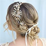 SWEETV Gold Rhinestone Wedding Headband Handmade Hair Band Bridal Headpiece Hair Accessories for Brides Bridesmaid Women