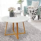 Coffee Table Wooden Side Table with Crossed Base