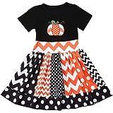 Halloween Toddler Baby Girl Pumpkin Print Dress Short Sleeve Striped Dot Princess Dress