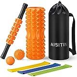 AISITIN フォームローラー 筋膜リリース スティック ヨガポール ストレッチ マッサージ ボール ローラー エクサ…