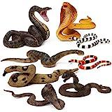 8pcs Snake Figurines Realistic Snake Prank Props Scary Snake Toy Scare Birds, Cobra Snake, Boa Constrictor, Coral Snake, Ratt