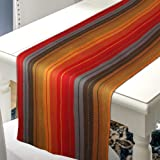 Urban Villa 100% Cotton Fused Table Runner Cuisine Stripes 14''X 72'' Over Sized Red Multi Color Every Day Use Heavier Qualit