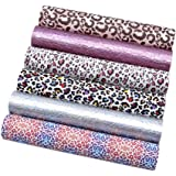 "David Angie Leopard Printed Faux Leather Sheet Holographic Burst Crack Synthetic Leather Fabric Assorted 6 PCS 7.9"" x 13.4"" ("