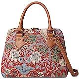 Signare Womens Tapestry Convertible Shoulder Handbag in William Morris Strawberry Thief Red Design