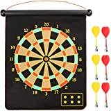 Magnetic Dartboard, Double Sided Rollup Flocking Dartboards Darts Plate of Safety Dart Board for Indoor Outdoor with 6 Darts,