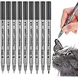 Set of 9 Black Micro-Pen Fineliner Ink Pens, Waterproof Archival Ink Fine Point Micro-Liner Pens, Brush & Calligraphy Tip Nib