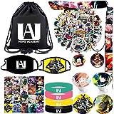 My Hero Academia Bag Gift Sets Including Drawstring Bag Backpack,MAH Stickers,Lanyard,Face-Masks,Keychain,Necklace,Lomo Cards