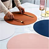Reversible Faux Leather Placemats Set of 4 PU Waterproof Non-Slip Washable Heat Resistant Place Mat for Kitchen Dining Table