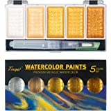 Tinge Portable Metallic Water Color Paint, 5 Shimmery Colors, Artist Glitter Solid Watercolors with 1 Water Brush for Artists