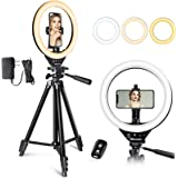 UBeesize 10'' LED Ring Light with Stand and Phone Holder, Selfie Halo Light for Photography/Makeup/Vlogging/Live Streaming, C