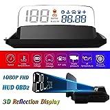 "HUD Display Car OBD2, 5"" FHD 1080P Gauge Head Up Display 3D Reflection 6 Mode ECU Datas Display Oil Temperature Coolant Tempe"