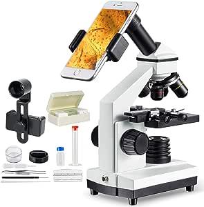 単眼生物顕微鏡1000倍 上下LEDライト内蔵 スマホ撮影セットスライドガラス付き 夏休み自由研究学習用科学教育研究に使いやすい、子供学生や大人に向けMAXLAPTER