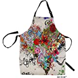 HGOD DESIGNS Flower Heart Kitchen Apron,Lovelife Wallpaper Stars Flowers Heart Kitchen Aprons for Women Men for Cooking Garde