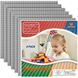 """Lekebaby Baseplate 10""""x10"""" Classic Building Board Large Base Plates 100% Compatible with All Major Brands, 6 Pack, Grey"""