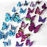 ElecMotive 24 Pcs 2 Packs Beautiful 3D Butterfly Wall Decals DIY Home Decorations Art Decor Wall Stickers & Murals for Babys